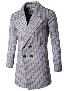 Ericdress Plaid Vogue Double-Breasted Men's Trench Coat