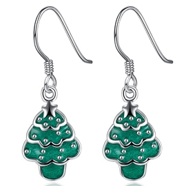 Ericdress Green Christmas Tree Pendant Earrings