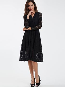 Ericdress Elegant Single-Breasted V-Neck Expansion Lace Dress
