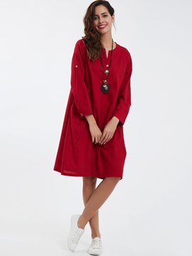 Ericdress Casual Button Round Neck A-Line Casual Dress