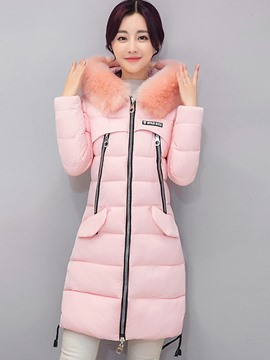 Ericdress Color Block Slim Zipper Thick Coat