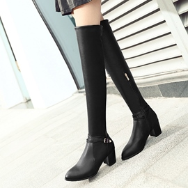 Ericdress Chic PU Block Heel Thigh High Boots