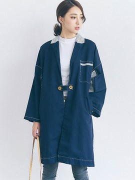 Ericdress Color Block Loose Patchwork Trench Coat
