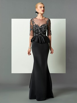 Ericdress Sheath Half Sleeve Applique Mermaid Evening Dress