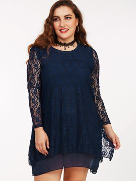 Ericdress Plus-Size See-Through Patchwork Above Knee Lace Dress