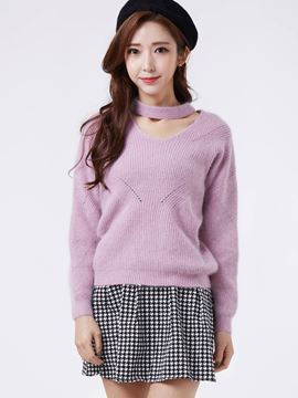 Ericdress Hollow Front Pullover Knitwear