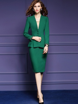 Ericdress Falbala One Button Jacket Skirt Suit
