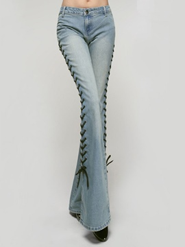 Ericdress Lace-Up Washable Slim Bellbottoms Jeans