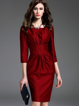 Ericdress Solid Color OL Pleated Bodycon Suit
