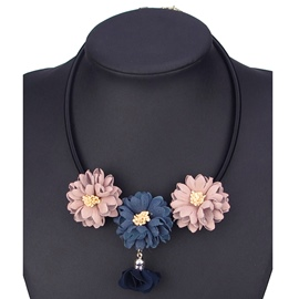Ericdress Three Colors Flower Pendant Necklace