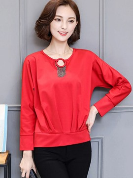 Ericdress Hollow Solid Color Pleated Blouse