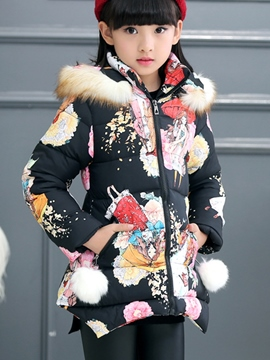 Ericdress Asym Floral Print Hooded Girls Coat