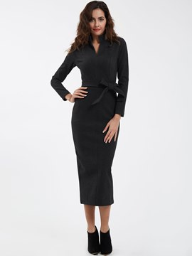Ericdress Casual Plain Stand Collar Sheath Dress