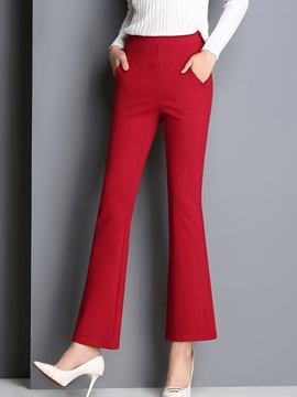Ericdress Solid Color Slim Bellbottoms Pants