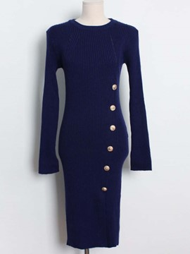 Ericdress Round Collar Button Split Sheath Dress