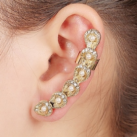 Ericdress White Pearls Inlaid Alloy Ear Cuff