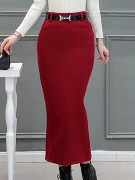 Ericdress Solid Color High-Waist Column Skirt
