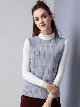 Ericdress Plaid Color Block Pullover Knitwear