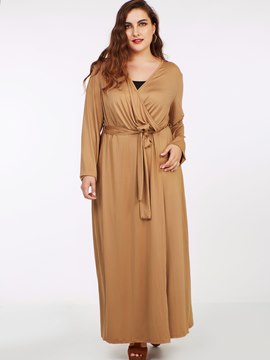 Ericdress Plus-Size Cross V-Neck Belt Pleated Maxi Dress