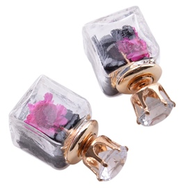 Ericdress Pink Flowers Square Stud Earrings