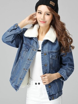 Ericdress Loose Fleece Denim Outerwear
