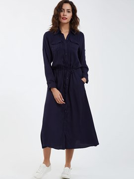 Ericdress Casual Lapel Single-Breasted Day Dress