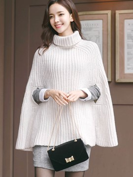 Ericdress Solid Color Turtleneck Cape