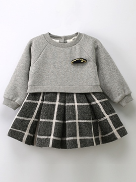 Ericdress Double-Layer Plaid Pleated Girls Dress