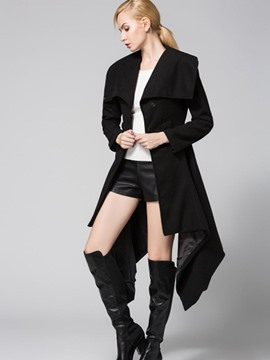 Ericdress Slim Solid Color Irregular Hem Trench Coat