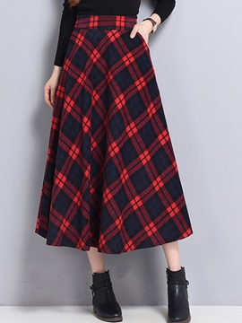 Ericdress Plaid Print High-Waist Expansion Skirt