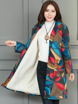 Ericdress Loose Printed Fleece Coat
