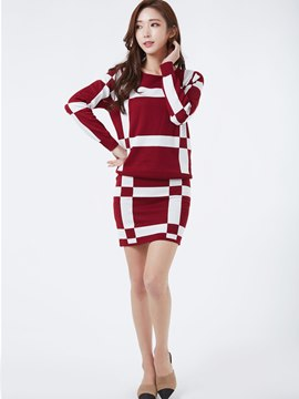 Ericdress Color Block Knitwear Suit