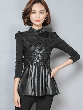 Ericdress Black Pelplum Lace Panel T-Shirt