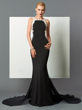 Ericdress Elegant Scoop Neck Applique Sheer Back Long Mermaid Evening Dress