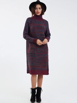 Ericdress Turtleneck Mottled Sweater Dress With Big Pocket Sweater Dress