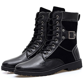 Ericdress Black Patchwork Men's Martin Boots