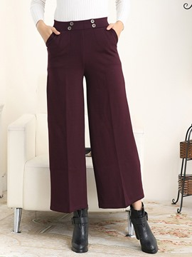 Ericdress Solid Color High-Waist Thick Wide Legs Pants