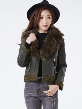 Ericdress Wide-Lapel Fur Women's Coat