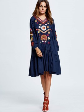 Ericdress V-Neck Embroidery Pleated Long T-Shirt