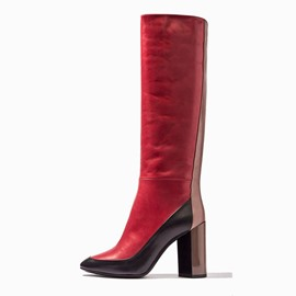 Ericdress Contrast Color Chunky Heel Knee High Boots