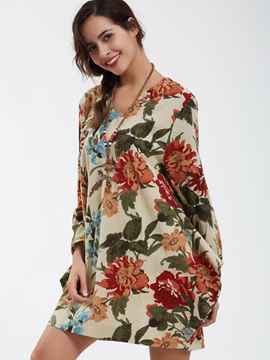 Ericdress V-Neck Flower Printed Loose Casual Dress