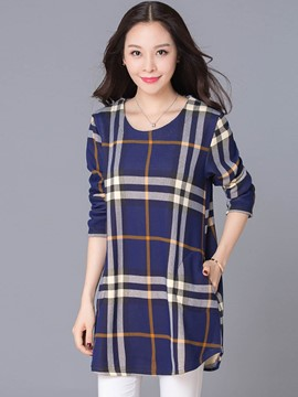 Ericdress Loose Round Neck Plaid Hoodie