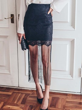 Ericdress Lace Hollow Fringe Mini Skirt