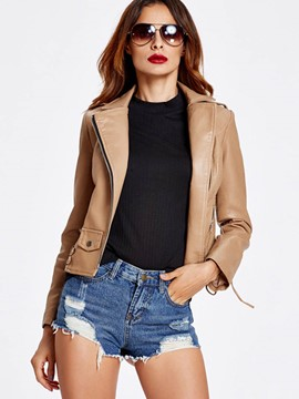 Ericdress Slim Asymmetric PU Jacket