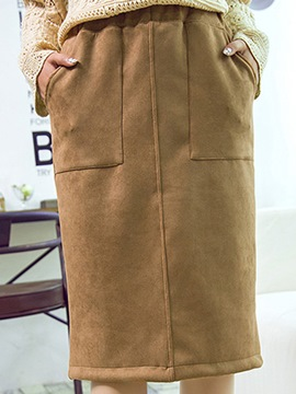 Ericdress Solid Color High-Waist Pocket Skirt