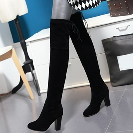 Eicdress Suede Point Toe Chunky Heel Thigh High Boots