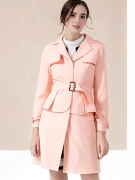 Ericdress Solid Color Belt Polo Slim Trench Coat