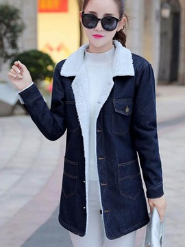 Ericdress Color Block Fleece Denim Outerwear