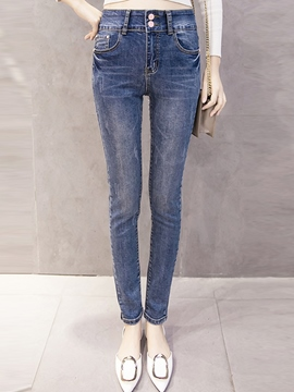 Ericdress Patchwork Skinny Full Length Jeans