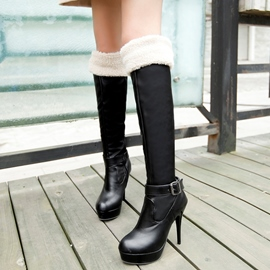 Ericdress PU Platform High Heel Thigh High Boots